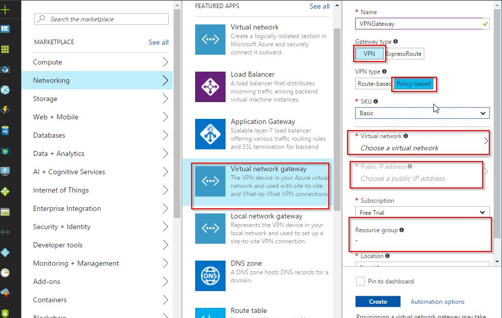 Azure site to site vpn cyberoam